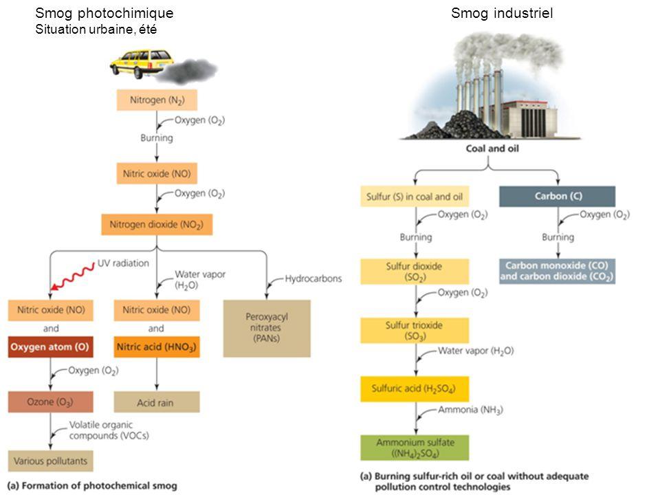 Smog industrielSmog photochimique Situation urbaine, été
