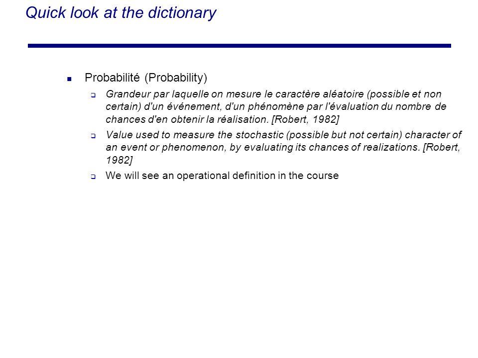 Quick look at the dictionary Probabilité (Probability) Grandeur par laquelle on mesure le caractère aléatoire (possible et non certain) d'un événement