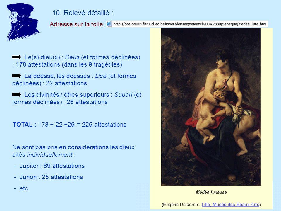 10. Relevé détaillé : Adresse sur la toile: Le(s) dieu(x) : Deus (et formes déclinées) : 178 attestations (dans les 9 tragédies) La déesse, les déesse