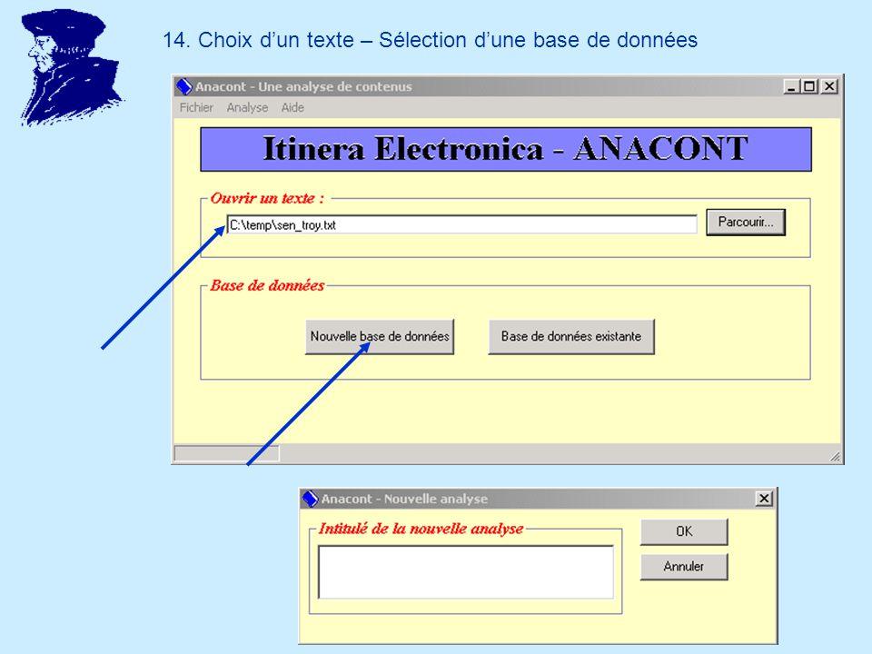 14. Choix dun texte – Sélection dune base de données