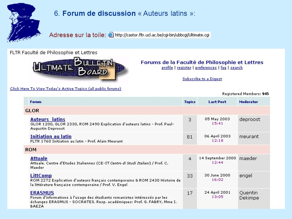 6. Forum de discussion « Auteurs latins »: Adresse sur la toile: