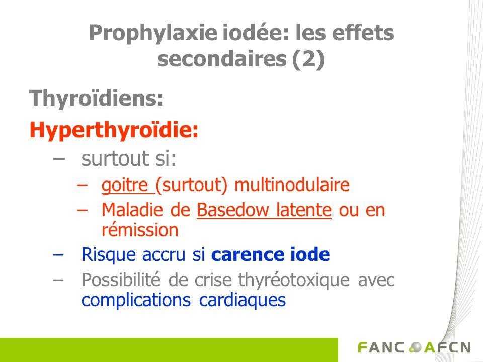 Prophylaxie iodée: les effets secondaires (2) Thyroïdiens: Hyperthyroïdie: –surtout si: –goitre (surtout) multinodulaire –Maladie de Basedow latente o