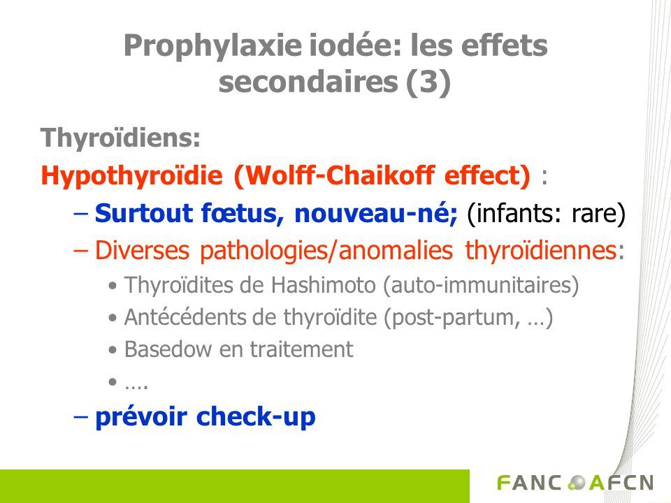 Prophylaxie iodée: les effets secondaires (3) Thyroïdiens: Hypothyroïdie (Wolff-Chaikoff effect) : –Surtout fœtus, nouveau-né; (infants: rare) –Divers