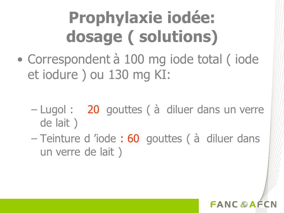 Prophylaxie iodée: dosage ( solutions) Correspondent à 100 mg iode total ( iode et iodure ) ou 130 mg KI: –Lugol : 20 gouttes ( à diluer dans un verre