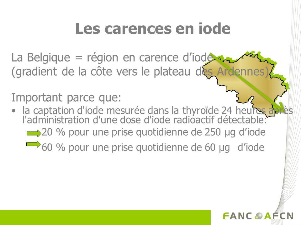Les carences en iode La Belgique = région en carence diode (gradient de la côte vers le plateau des Ardennes) Important parce que: la captation d'iode