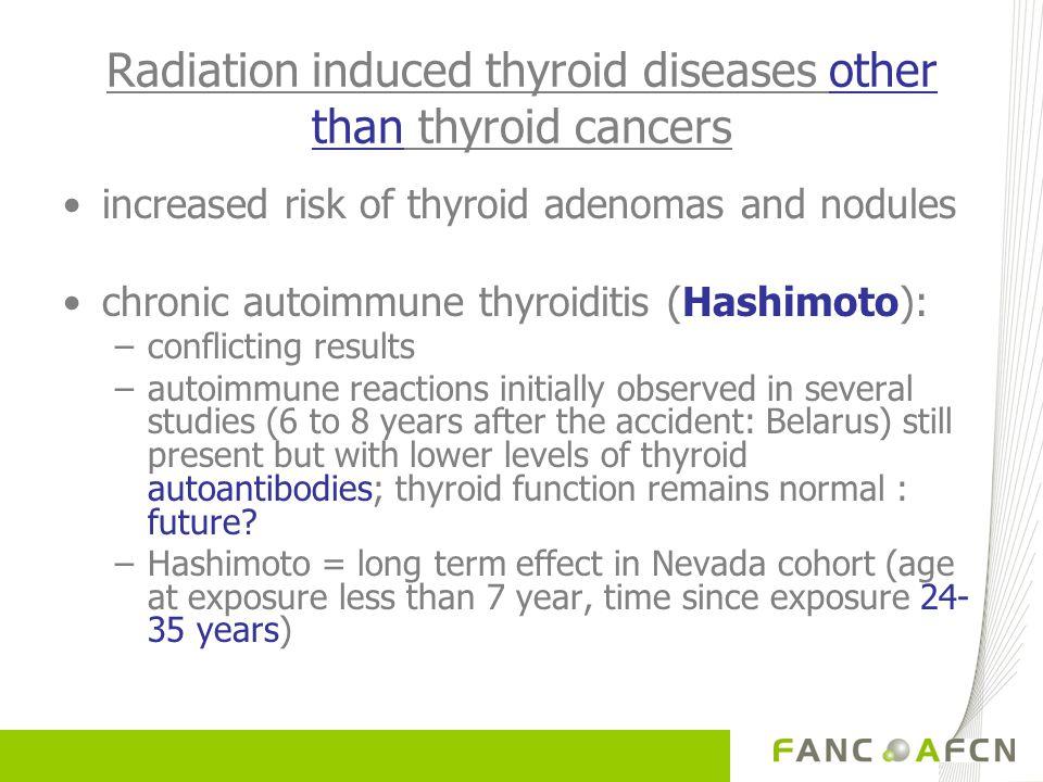 Radiation induced thyroid diseases other than thyroid cancers increased risk of thyroid adenomas and nodules chronic autoimmune thyroiditis (Hashimoto