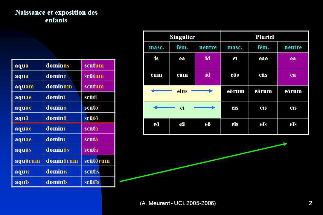 (A. Meurant - UCL 2005-2006)2 Naissance et exposition des enfants aquadominusscūtum aquadominescūtum aquamdominumscūtum aquaedominīscūtī aquaedominōsc