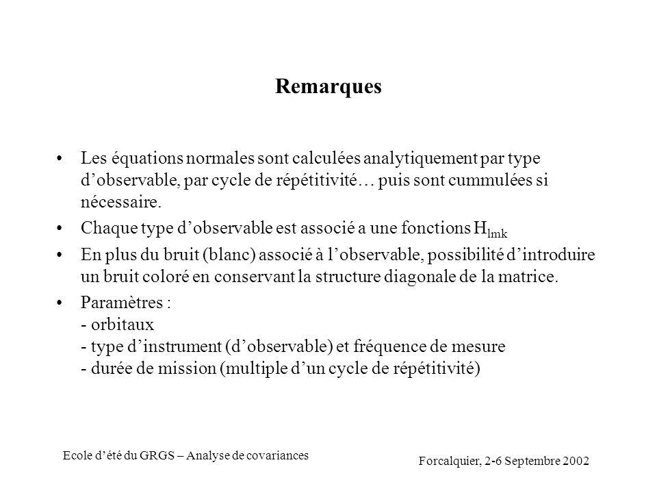 Forcalquier, 2-6 Septembre 2002 Ecole dété du GRGS – Analyse de covariances Remarques Les équations normales sont calculées analytiquement par type dobservable, par cycle de répétitivité… puis sont cummulées si nécessaire.