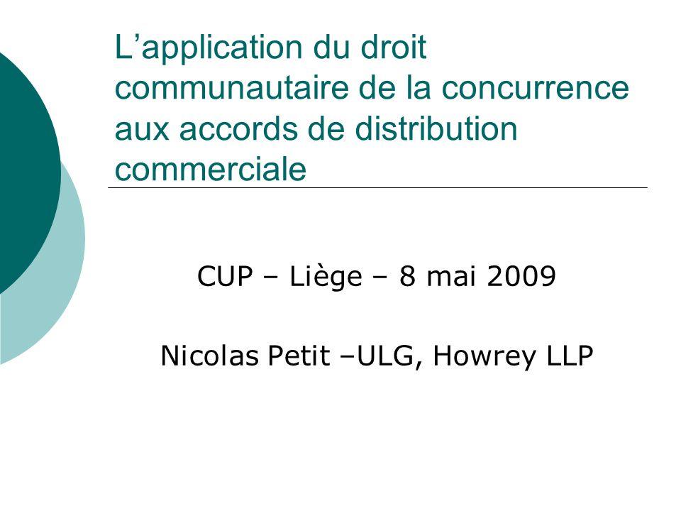 Introduction La notion daccord vertical Quelques scenarii datteinte à la concurrence (theories of harm) Le Règlement 2790/1999 et les lignes directrices Objet de la présentation 1.