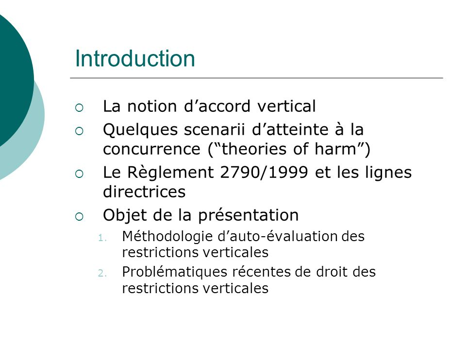 Introduction La notion daccord vertical Quelques scenarii datteinte à la concurrence (theories of harm) Le Règlement 2790/1999 et les lignes directric