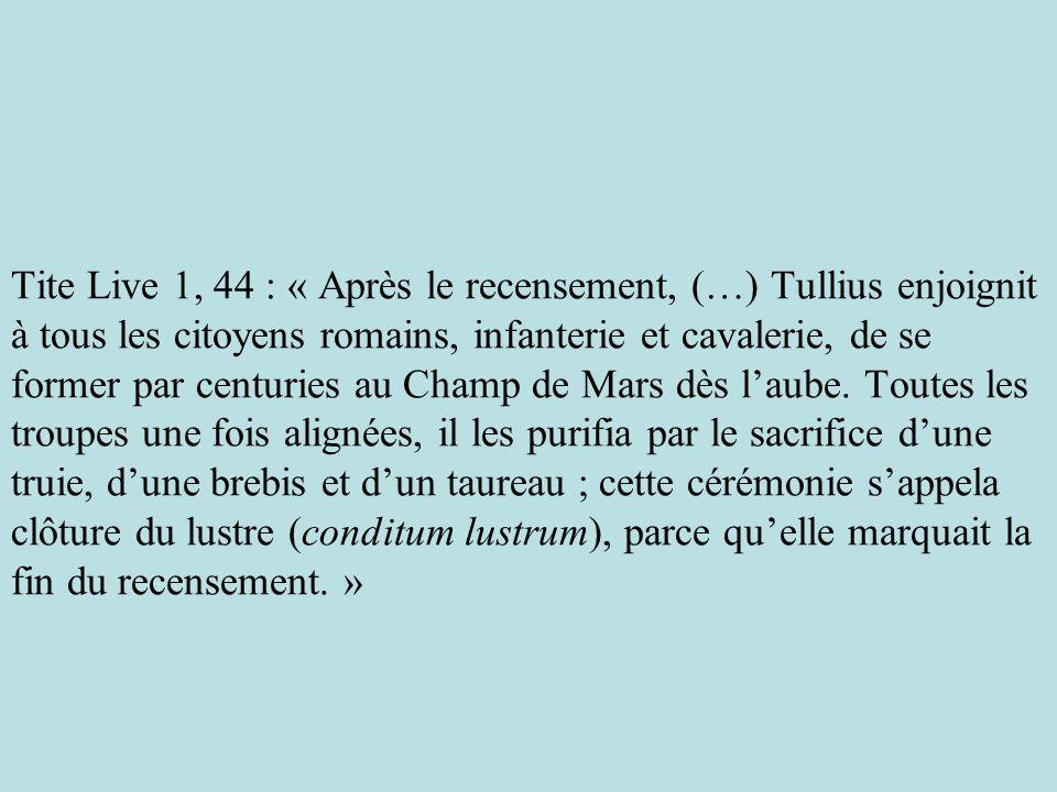 Tite Live 1, 44 : « Après le recensement, (…) Tullius enjoignit à tous les citoyens romains, infanterie et cavalerie, de se former par centuries au Ch