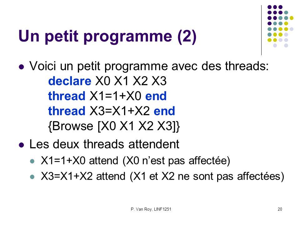 P. Van Roy, LINF125120 Un petit programme (2) Voici un petit programme avec des threads: declare X0 X1 X2 X3 thread X1=1+X0 end thread X3=X1+X2 end {B