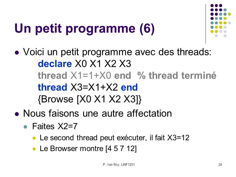 P. Van Roy, LINF125124 Un petit programme (6) Voici un petit programme avec des threads: declare X0 X1 X2 X3 thread X1=1+X0 end % thread terminé threa