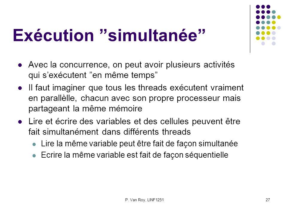 P. Van Roy, LINF125127 Exécution simultanée Avec la concurrence, on peut avoir plusieurs activités qui sexécutent en même temps Il faut imaginer que t