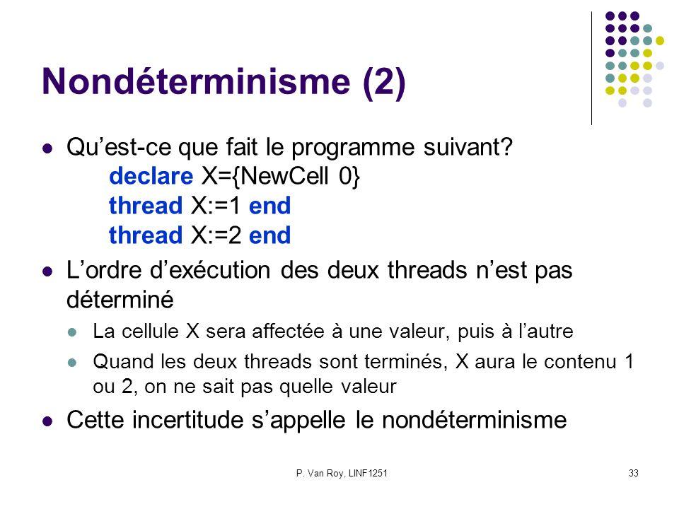 P. Van Roy, LINF125133 Nondéterminisme (2) Quest-ce que fait le programme suivant? declare X={NewCell 0} thread X:=1 end thread X:=2 end Lordre dexécu
