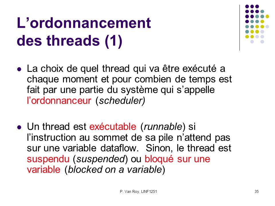 P. Van Roy, LINF125135 Lordonnancement des threads (1) La choix de quel thread qui va être exécuté a chaque moment et pour combien de temps est fait p