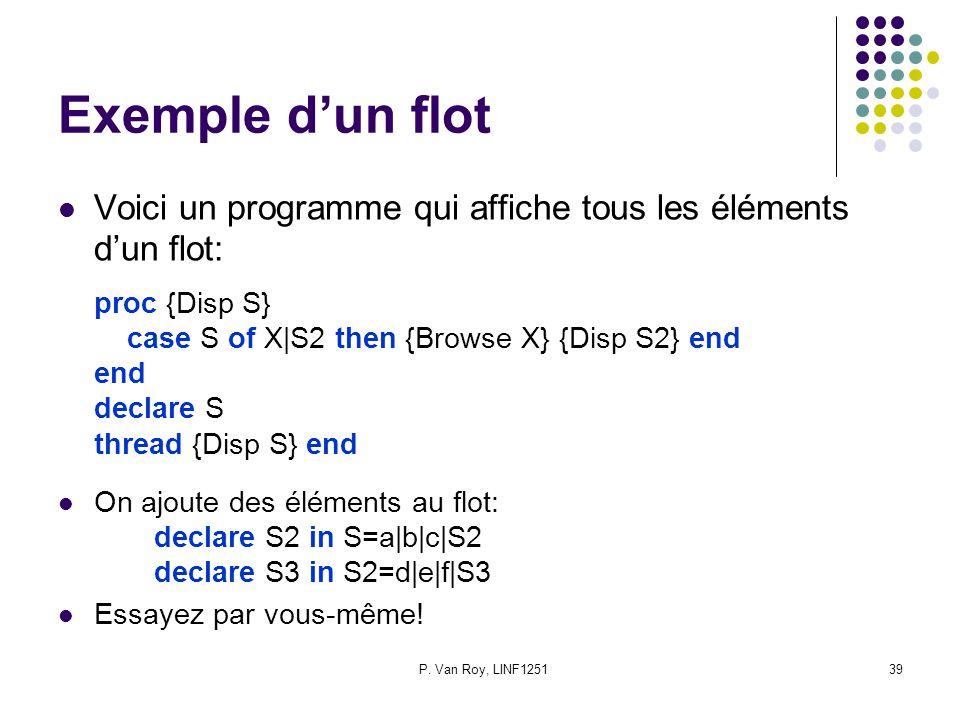 P. Van Roy, LINF125139 Exemple dun flot Voici un programme qui affiche tous les éléments dun flot: proc {Disp S} case S of X|S2 then {Browse X} {Disp