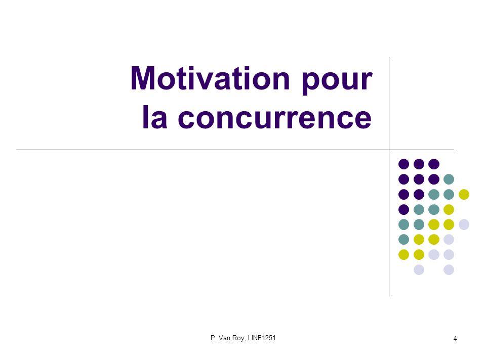 P. Van Roy, LINF1251 4 Motivation pour la concurrence