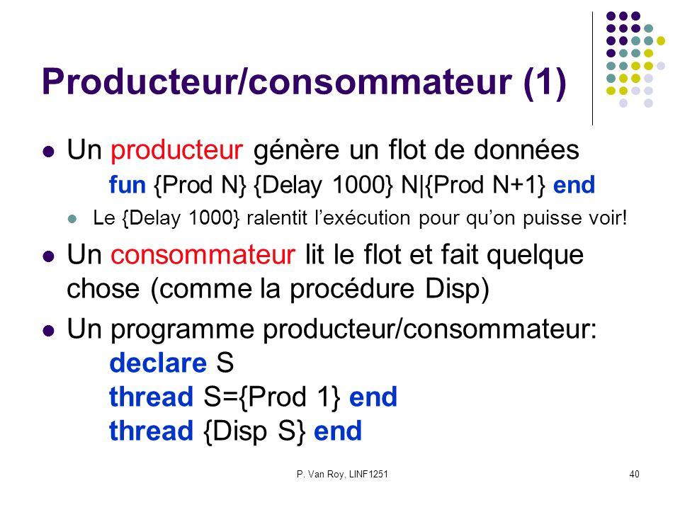 P. Van Roy, LINF125140 Producteur/consommateur (1) Un producteur génère un flot de données fun {Prod N} {Delay 1000} N|{Prod N+1} end Le {Delay 1000}