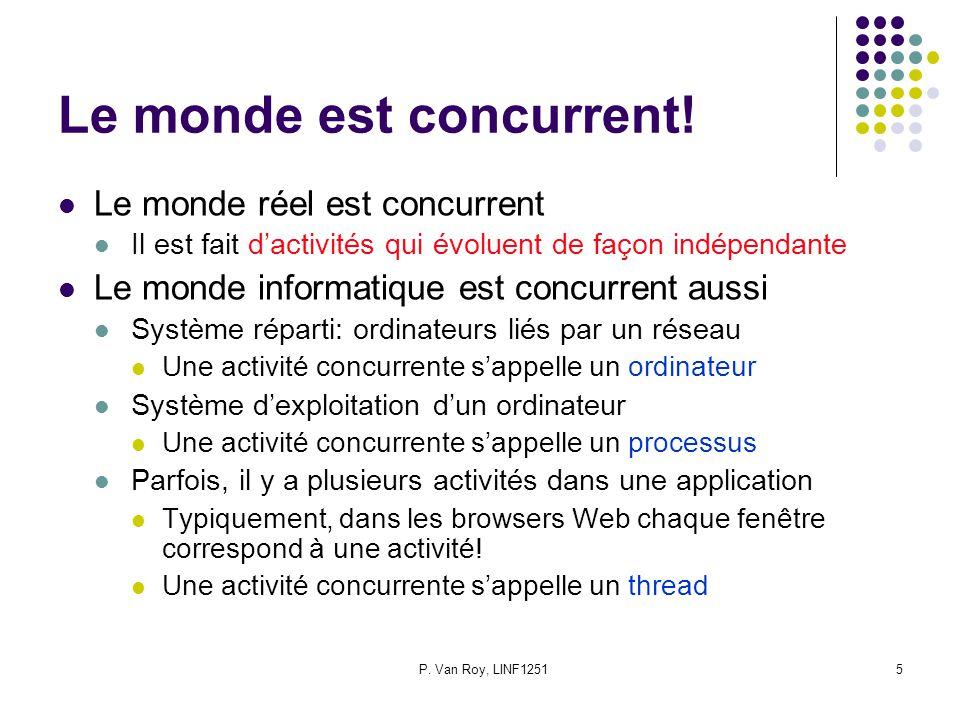 P. Van Roy, LINF12515 Le monde est concurrent! Le monde réel est concurrent Il est fait dactivités qui évoluent de façon indépendante Le monde informa