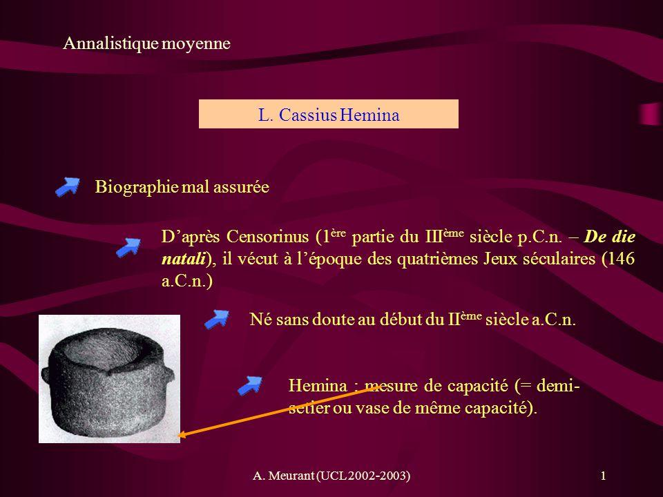 A. Meurant (UCL 2002-2003)1 Annalistique moyenne Biographie mal assurée L. Cassius Hemina Daprès Censorinus (1 ère partie du III ème siècle p.C.n. – D