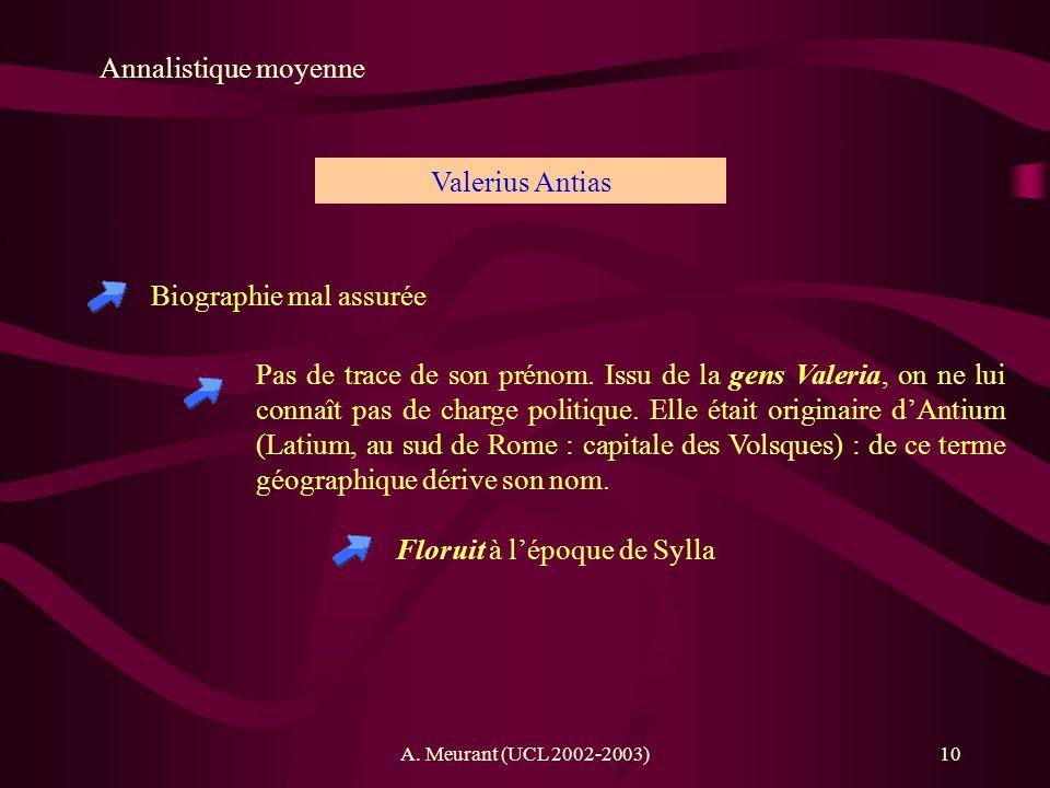 A. Meurant (UCL 2002-2003)10 Annalistique moyenne Biographie mal assurée Valerius Antias Pas de trace de son prénom. Issu de la gens Valeria, on ne lu