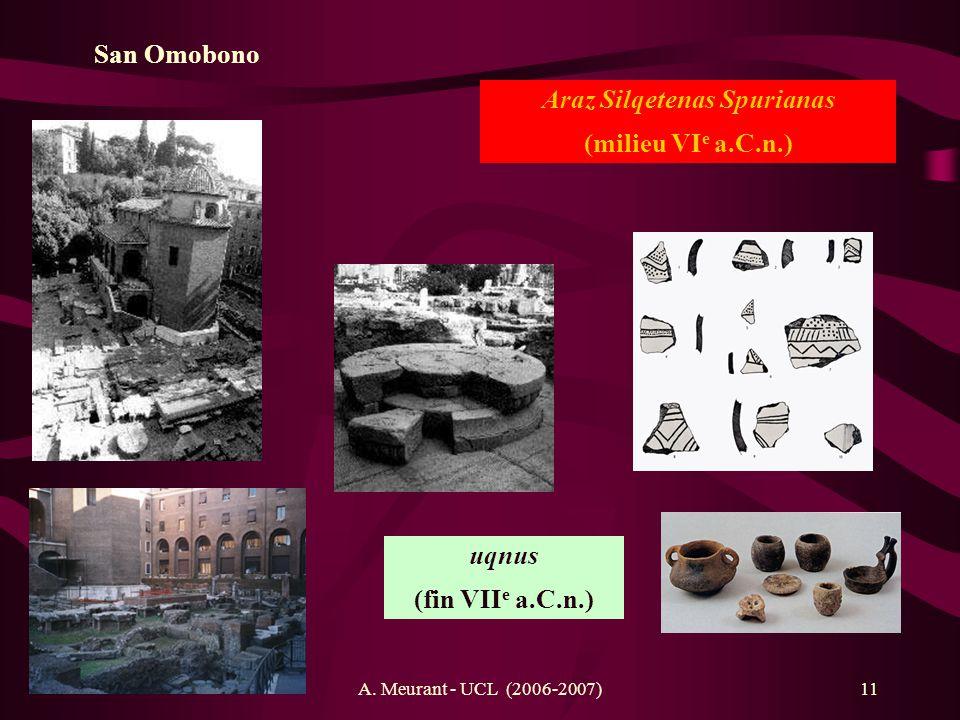 A. Meurant - UCL (2006-2007)11 San Omobono Araz Silqetenas Spurianas (milieu VI e a.C.n.) uqnus (fin VII e a.C.n.)
