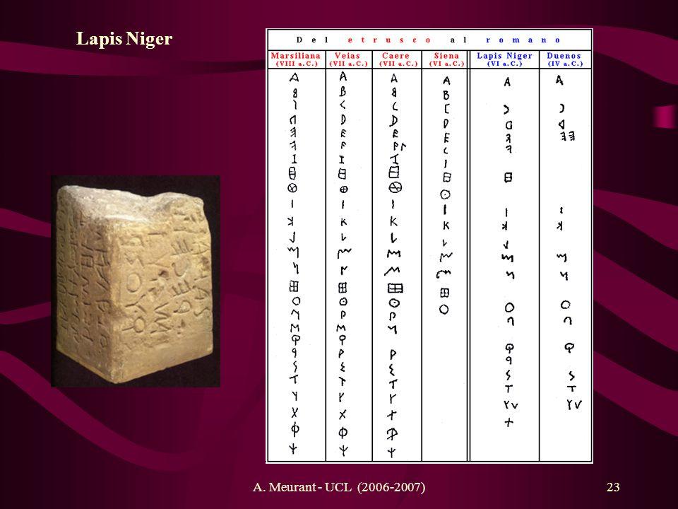A. Meurant - UCL (2006-2007)23 Lapis Niger