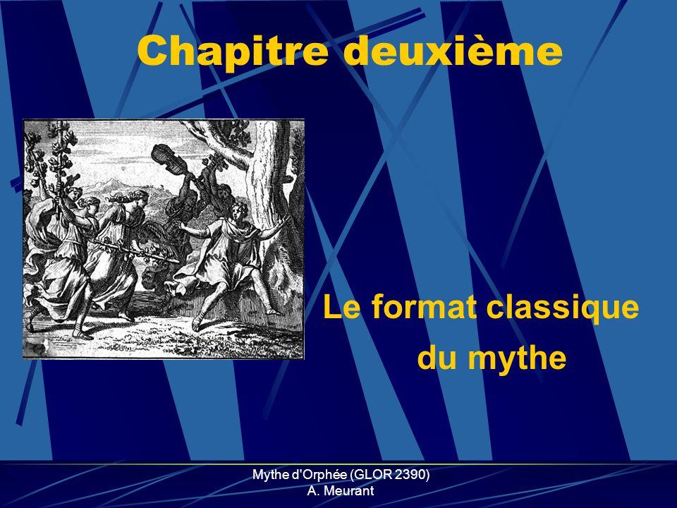 Mythe d'Orphée (GLOR 2390) A. Meurant Chapitre deuxième Le format classique du mythe