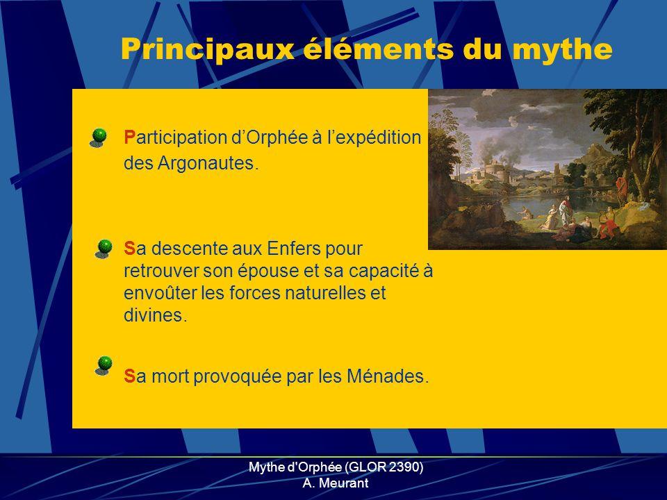 Mythe d'Orphée (GLOR 2390) A. Meurant Sa descente aux Enfers pour retrouver son épouse et sa capacité à envoûter les forces naturelles et divines. Par