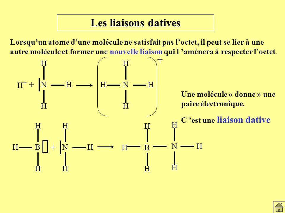 Lorsquun atome dune molécule ne satisfait pas loctet, il peut se lier à une autre molécule et former une nouvelle liaison qui l amènera à respecter loctet.