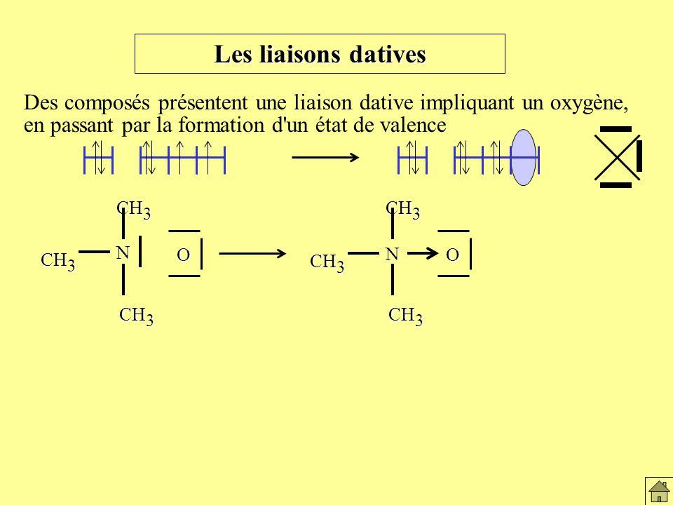 Des composés présentent une liaison dative impliquant un oxygène, en passant par la formation d un état de valence N CH 3 O N O Les liaisons datives