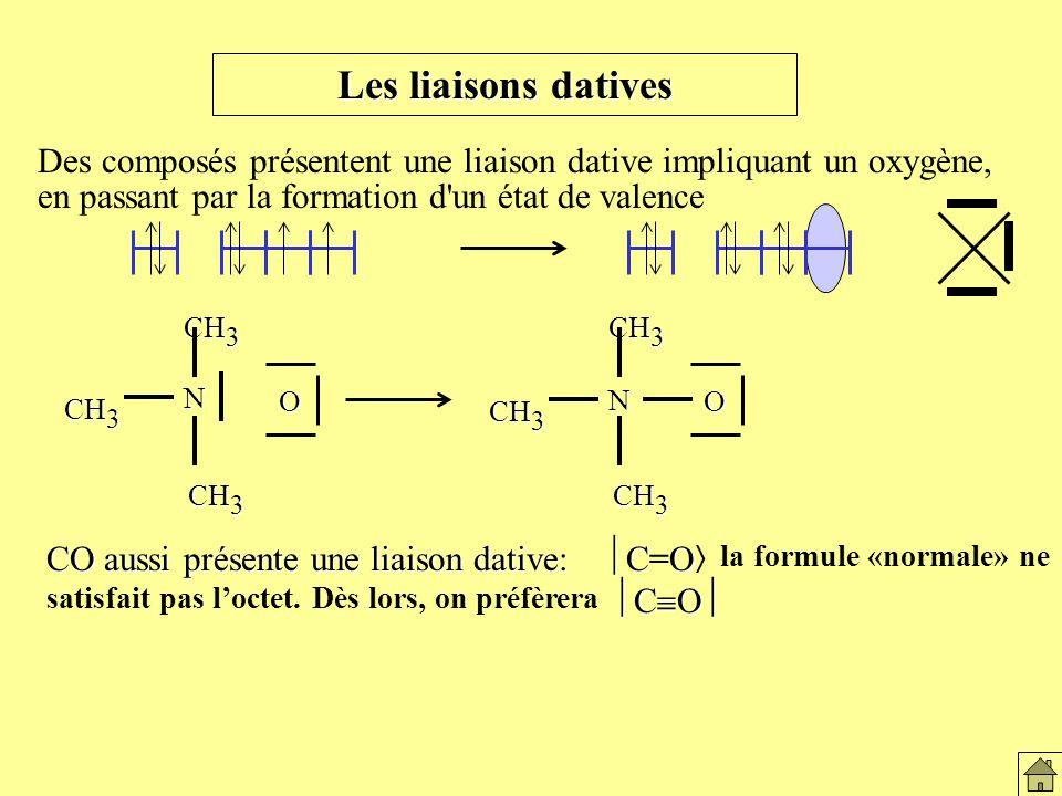 CO aussi présente une liaison dative: CO C O CO aussi présente une liaison dative: C=O la formule «normale» ne satisfait pas loctet.