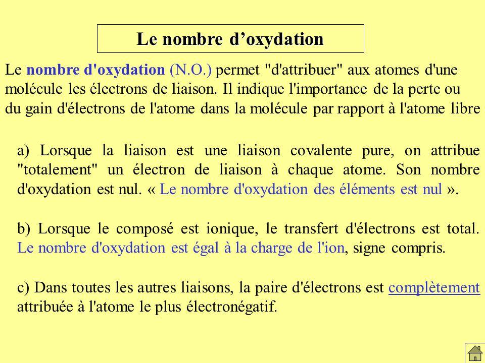 Le nombre doxydation Le nombre d oxydation (N.O.) permet d attribuer aux atomes d une molécule les électrons de liaison.