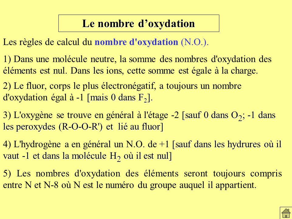 Le nombre doxydation Les règles de calcul du nombre d oxydation (N.O.).