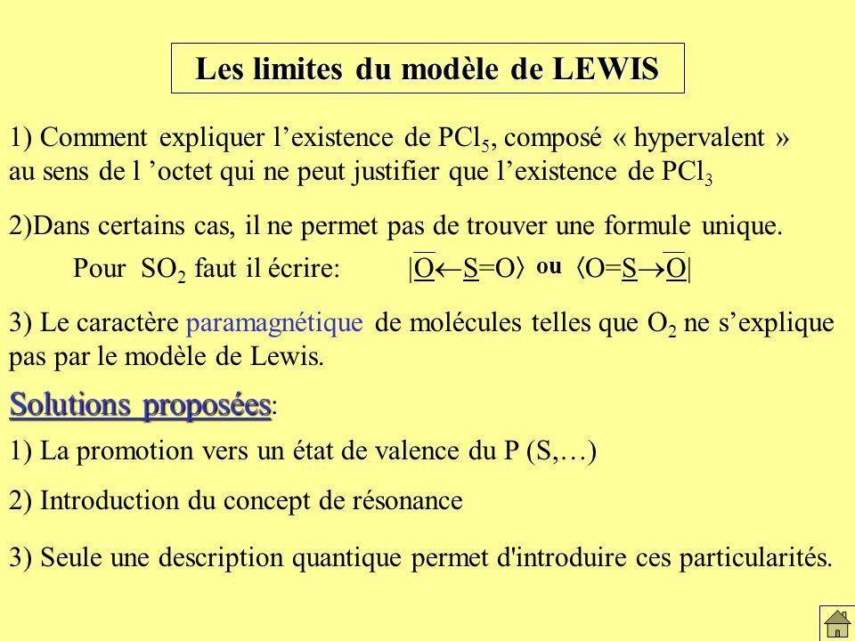 Les limites du modèle de LEWIS 2)Dans certains cas, il ne permet pas de trouver une formule unique.