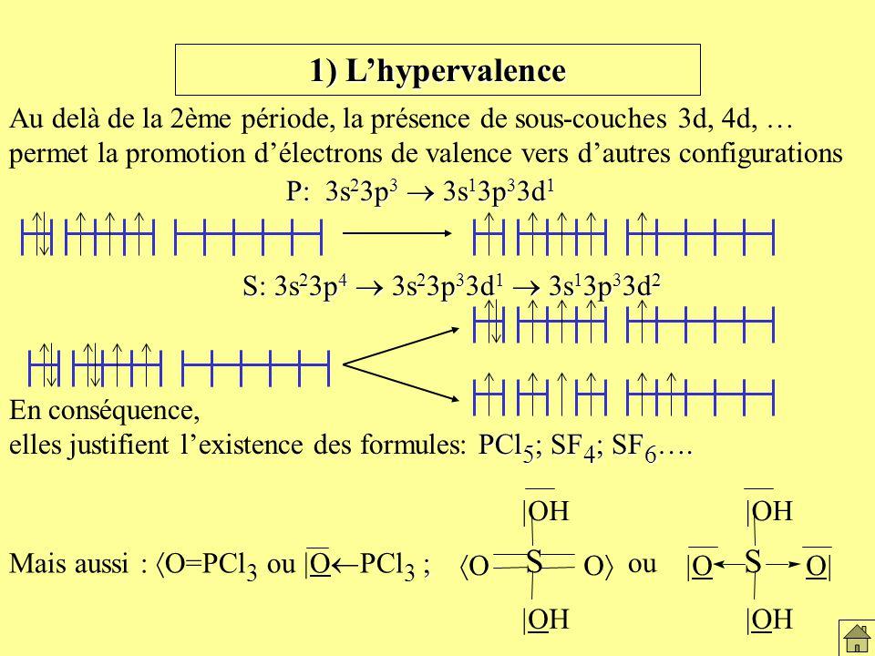 1) Lhypervalence Au delà de la 2ème période, la présence de sous-couches 3d, 4d, … permet la promotion délectrons de valence vers dautres configurations En conséquence, PCl 5 ; SF 4 ; SF 6 ….