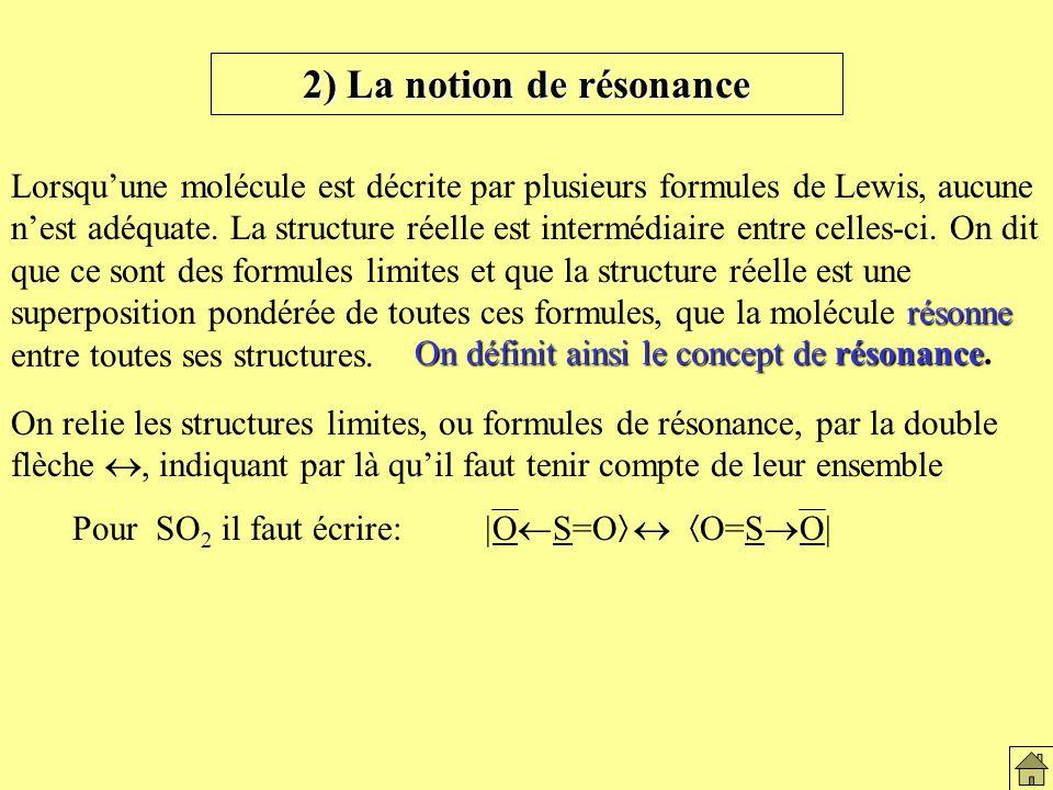2) La notion de résonance résonne Lorsquune molécule est décrite par plusieurs formules de Lewis, aucune nest adéquate.