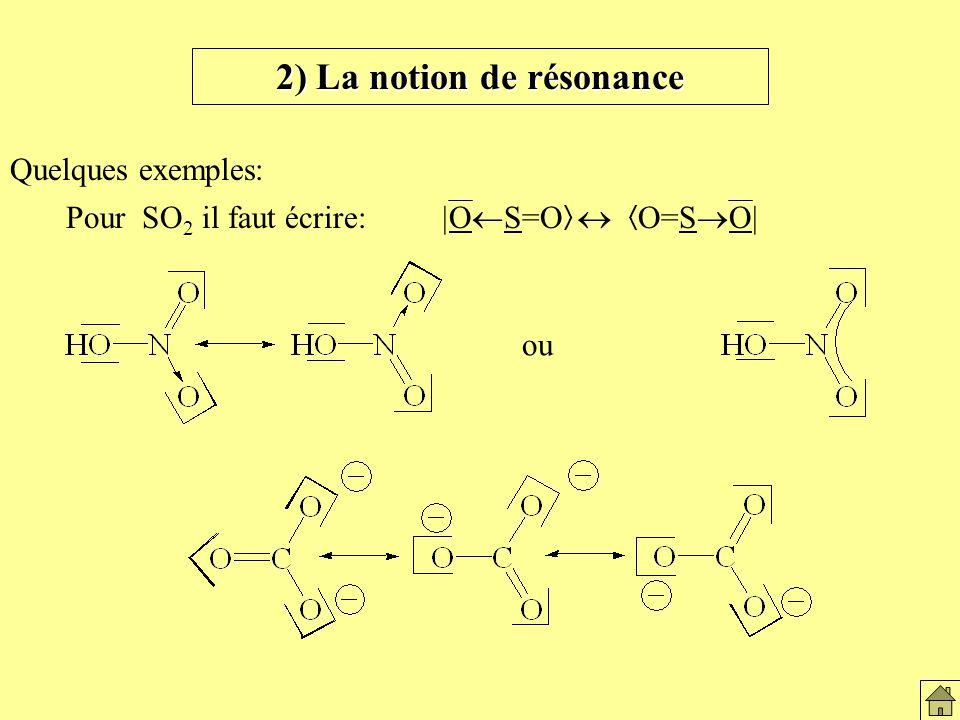 2) La notion de résonance Quelques exemples: Pour SO 2 il faut écrire: O S=O O=S O ou La notion de résonnance