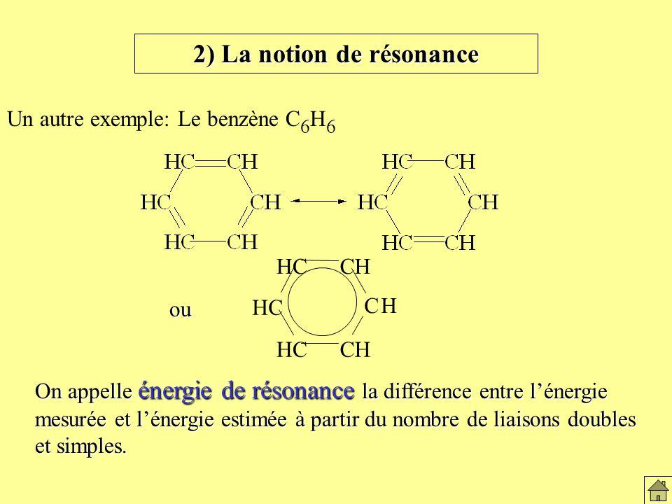 2) La notion de résonance Un autre exemple: Le benzène C 6 H 6 CH CH HC ou On appelle énergie de résonance la différence entre lénergie mesurée et lénergie estimée à partir du nombre de liaisons doubles et simples.