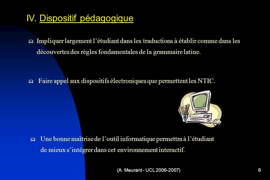 (A. Meurant - UCL 2006-2007)6 IV.