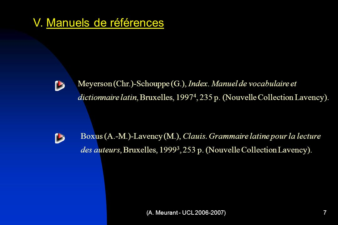 (A. Meurant - UCL 2006-2007)7 V. Manuels de références Meyerson (Chr.)-Schouppe (G.), Index. Manuel de vocabulaire et dictionnaire latin, Bruxelles, 1