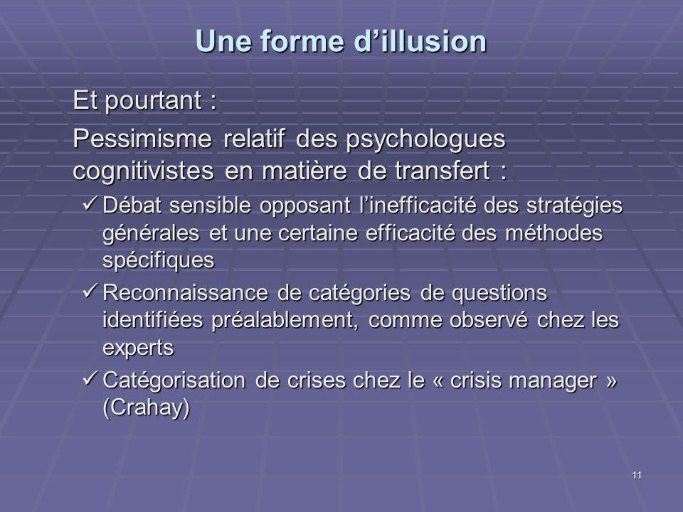 11 Une forme dillusion Et pourtant : Pessimisme relatif des psychologues cognitivistes en matière de transfert : Débat sensible opposant linefficacité