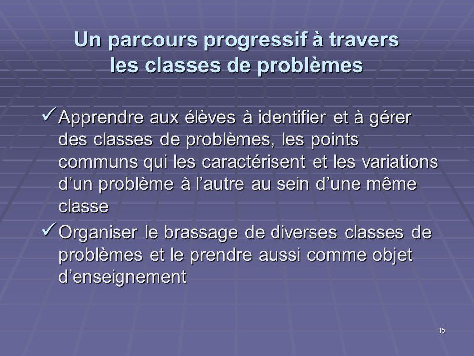 15 Un parcours progressif à travers les classes de problèmes Apprendre aux élèves à identifier et à gérer des classes de problèmes, les points communs