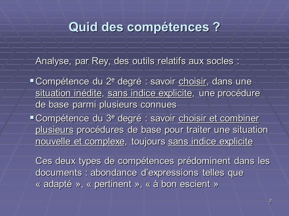 2 Quid des compétences ? Analyse, par Rey, des outils relatifs aux socles : Compétence du 2 e degré : savoir choisir, dans une situation inédite, sans