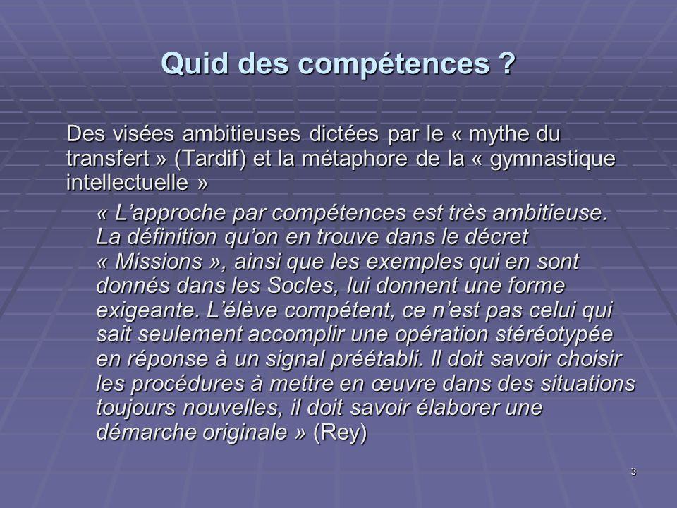 3 Quid des compétences ? Des visées ambitieuses dictées par le « mythe du transfert » (Tardif) et la métaphore de la « gymnastique intellectuelle » «