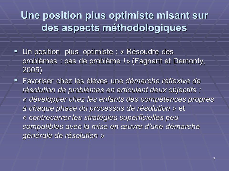 Une position plus optimiste misant sur des aspects méthodologiques Un position plus optimiste : « Résoudre des problèmes : pas de problème !» (Fagnant