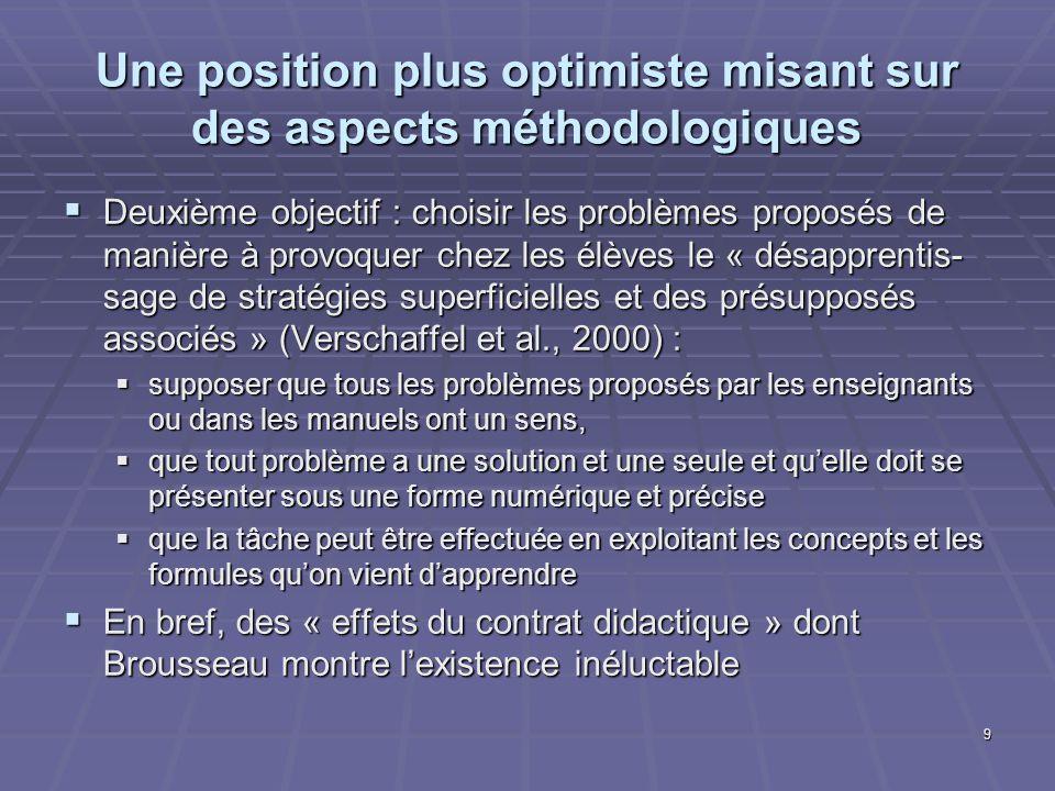 Une position plus optimiste misant sur des aspects méthodologiques Deuxième objectif : choisir les problèmes proposés de manière à provoquer chez les