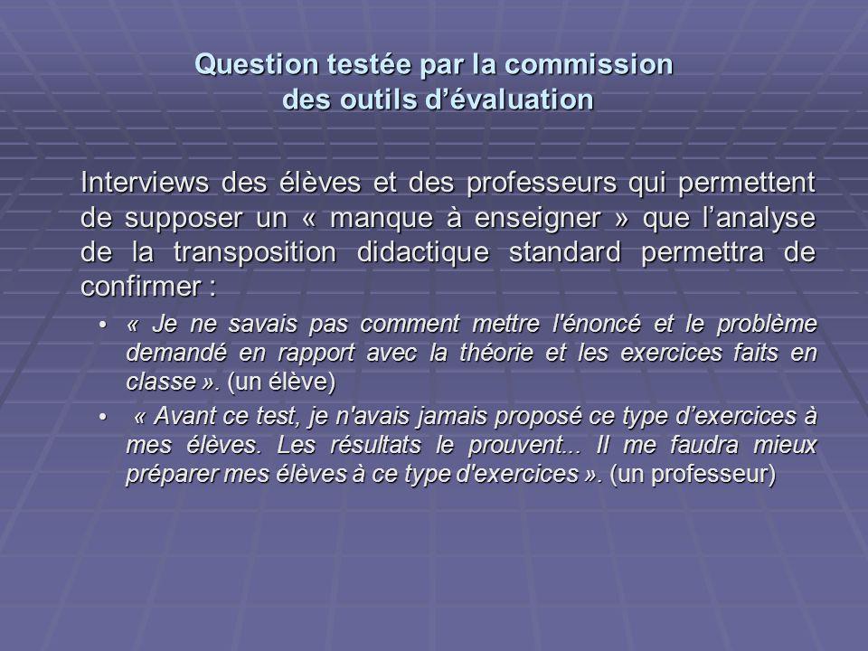 Question testée par la commission des outils dévaluation Interviews des élèves et des professeurs qui permettent de supposer un « manque à enseigner »