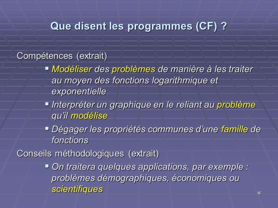 Que disent les programmes (CF) ? Compétences (extrait) Modéliser des problèmes de manière à les traiter au moyen des fonctions logarithmique et expone